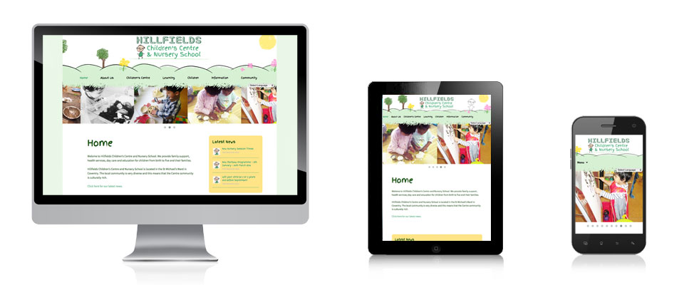 Hillfields Children Centre website designed in Leicestershire by Jungle Design